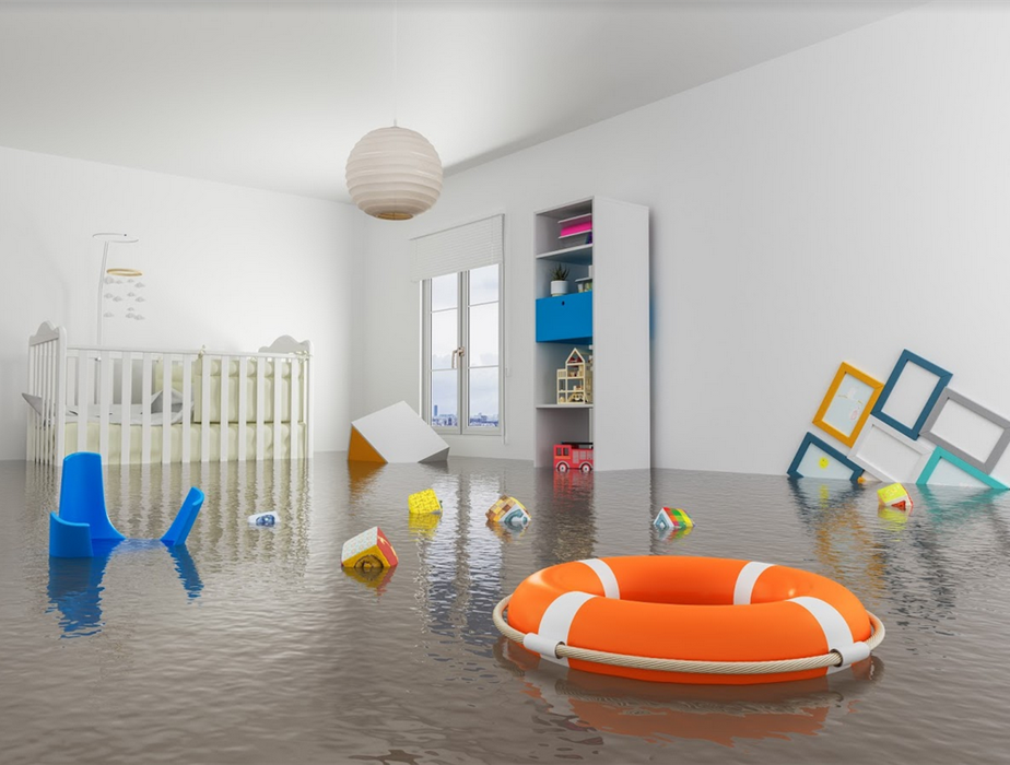 flooded nursery with items floating